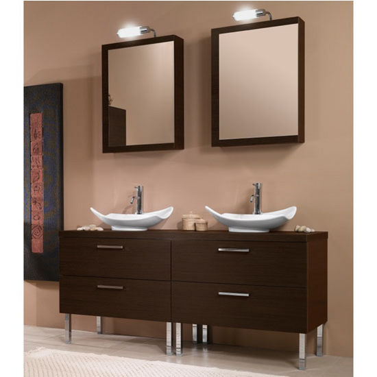 Aurora A17 Wall Mounted Double Sink Bathroom Vanity Set Includes