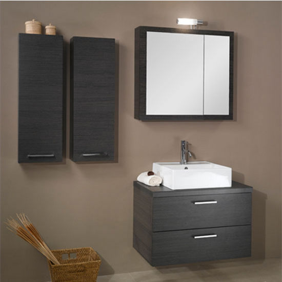 "Iotti by Nameeks Aurora A18 Wall Mounted Single Sink Bathroom Vanity Set in Grey Oak, 30-2/5"" Wide (Includes: Main Cabinet, Wooden Top, Sink, Medicine Cabinet and Vanity Light)"