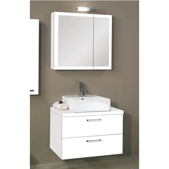 Aurora A18 Wall Mounted Single Sink Bathroom Vanity Set Includes Main Cabinet Wooden Top