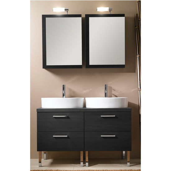 "Iotti by Nameeks Aurora A19 Floor Standing Double Sink Bathroom Vanity Set in Grey Oak, 45-7/64"" Wide (Includes: (2) Main Cabinets, Wooden Top, (2) Sinks, (2) Medicine Cabinets and (2) Vanity Lights)"