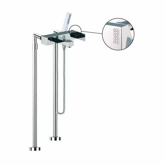 Nameeks Fima Floor Mounted Bath Mixer Filler On Risers With Hand Shower Set