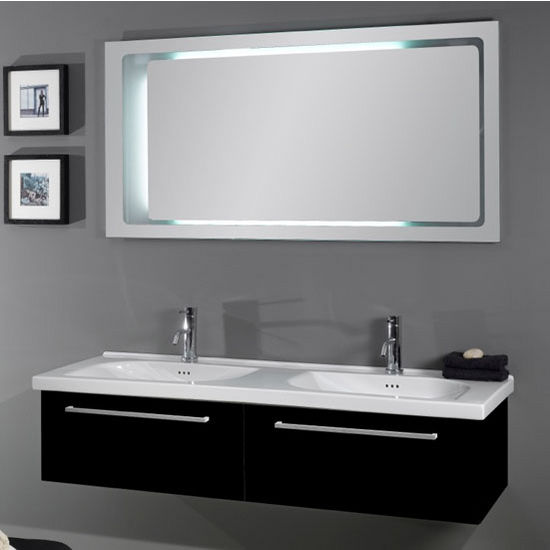 "Iotti by Nameeks Fly FL2 Wall Mounted Double Sink Bathroom Vanity Set in Glossy Black, 55-1/2"" Wide (Includes: Main Cabinet, (2) Sinks and Mirror)"
