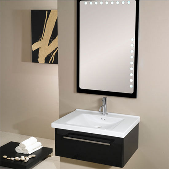 "Iotti by Nameeks Fly FL4 Wall Mounted Single Sink Bathroom Vanity Set in Glossy Black, 27-45/64"" Wide (Includes: Main Cabinet, Sink Top and Mirror)"