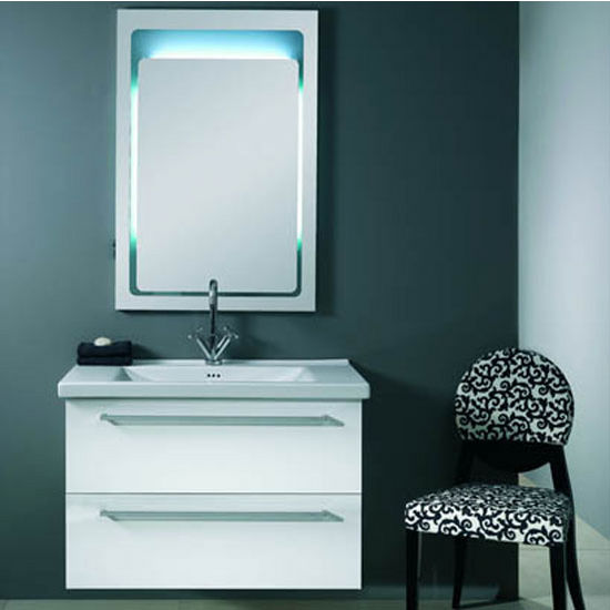 "Iotti by Nameeks Fly FL6 Wall Mounted Single Sink Bathroom Vanity Set in Glossy White or Black, 35-4/5"" Wide (Includes: Main Cabinet, Sink Top and Mirror)"