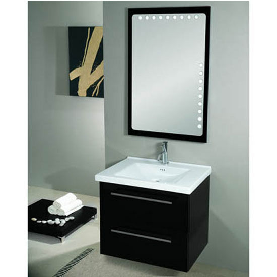 "Iotti by Nameeks Fly FL8 Wall Mounted Single Sink Bathroom Vanity Set in Glossy Black, 27-45/64"" Wide (Includes: Main Cabinet, Sink Top and Mirror)"