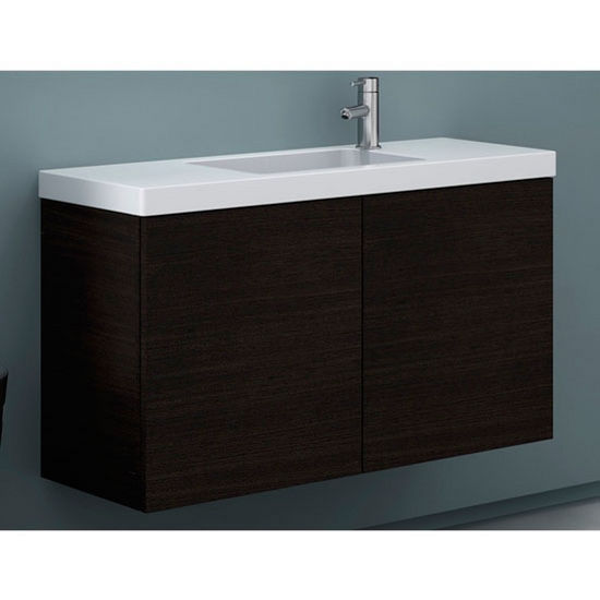 """Iotti by Nameeks Happy Day HD03 Wall Mounted Single Sink Bathroom Vanity in Wenge, 39"""" Wide (Includes: Main Cabinet and Sink Top)"""