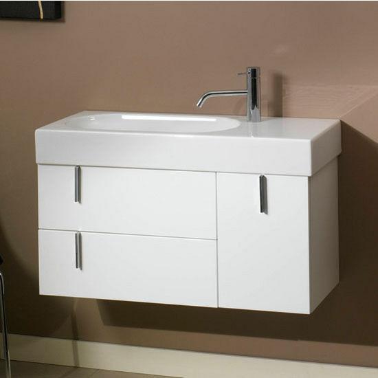 Enjoy Ne1 Wall Mounted Single Sink Bathroom Vanity Set Includes Main Cabinet Sink Top Mirror
