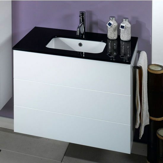 Time Nt7 Wall Mounted Single Sink Bathroom Vanity Set Includes Main Cabinet Glass Top Sink
