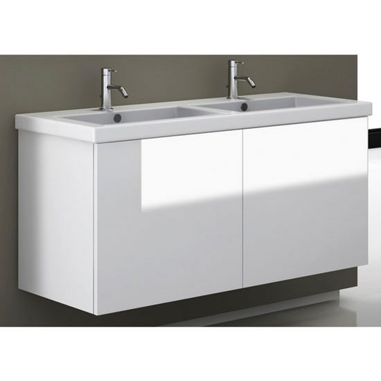 Space Se06 Wall Mounted Double Sink Bathroom Vanity Set Includes Main Cabinet Sink Top