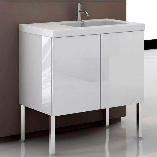 Space Se07 Wall Mounted Single Sink Bathroom Vanity Set Includes Main Cabinet Sink Top