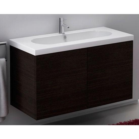 Trendy Tr03 Wall Mounted Single Sink Bathroom Vanity Set Includes Main Cabinet Sink Top