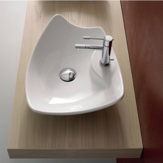 Nameeks Kong 50-R Above Counter Bathroom Sink in White , Single Hole