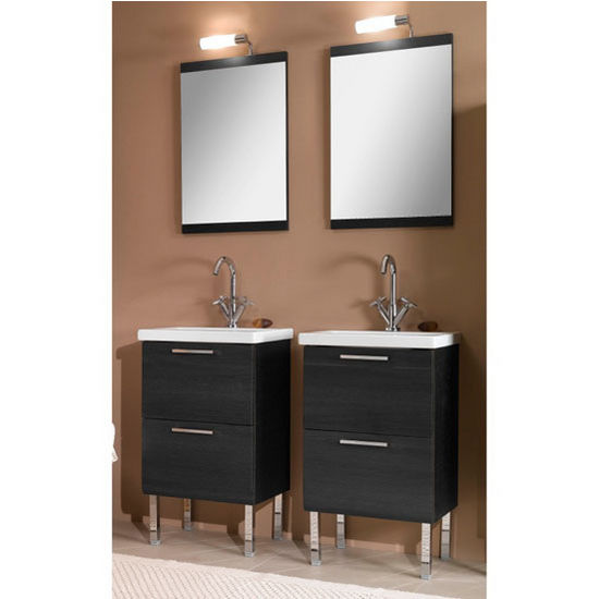 "Iotti by Nameeks Luna L11 Floor Standing Single Sink Bathroom Vanity Set in Grey Oak, 18-3/5"" Wide (Includes: (2) Main Cabinets, (2) Sink Tops, (2) Mirrors and (2) Vanity Lights)"