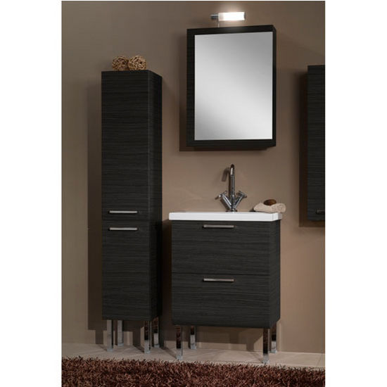 "Iotti by Nameeks Luna L14 Floor Standing Single Sink Bathroom Vanity Set in Grey Oak, 22-1/2"" Wide (Includes: Main Cabinet, Sink Top, Medicine Cabinet and Vanity Light)"