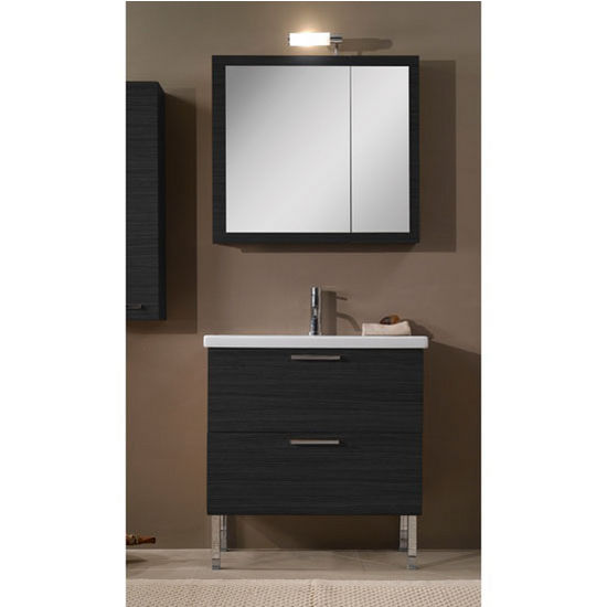 "Iotti by Nameeks Luna L15 Floor Standing Single Sink Bathroom Vanity Set in Grey Oak, 30-2/5"" Wide (Includes: Main Cabinet, Sink Top, Medicine Cabinet and Vanity Light)"