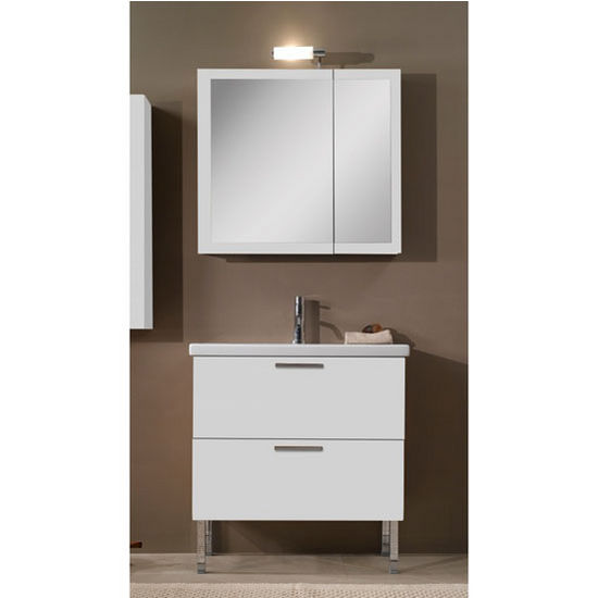 Luna L15 Wall Mounted Single Sink Bathroom Vanity Set (Includes: Main Cabinet, Sink Top, Medicine Cabinet and Vanity Light) ADA Compliant and Made