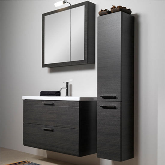 "Iotti by Nameeks Luna L16 Wall Mounted Single Sink Bathroom Vanity Set in Grey Oak, 38-5/16"" Wide (Includes: Main Cabinet, Sink Top, Medicine Cabinet and Vanity Light)"