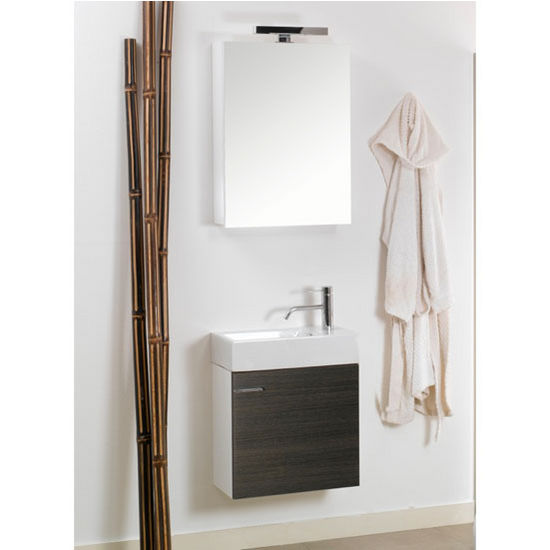 "Iotti by Nameeks Lola LA1 Wall Mounted Single Sink Bathroom Vanity Set in Grey Oak, 20-45/64"" Wide (Includes: Main Cabinet, Sink Top, Medicine Cabinet and Vanity Light)"