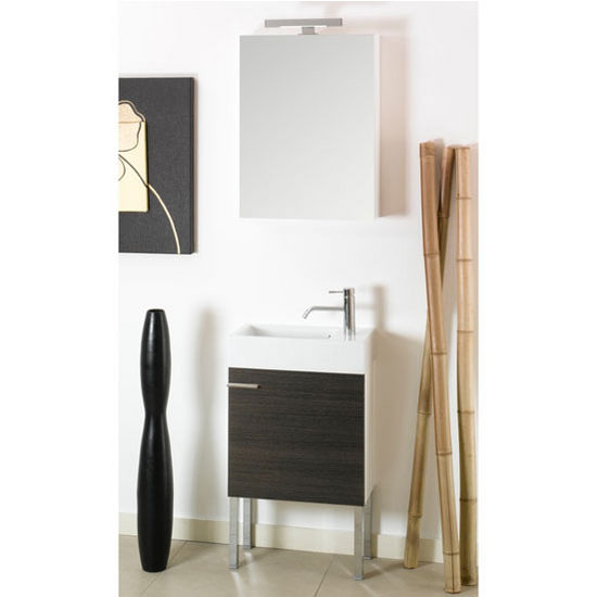 "Iotti by Nameeks Lola LA2 Floor Standing Single Sink Bathroom Vanity Set in Grey Oak, 20-45/64"" Wide (Includes: Main Cabinet, Sink Top, Medicine Cabinet and Vanity Light)"