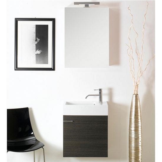 "Iotti by Nameeks Lola LA3 Wall Mounted Single Sink Bathroom Vanity Set in Grey Oak, 20-45/64"" Wide (Includes: Main Cabinet, Sink Top, Medicine Cabinet and Vanity Light)"