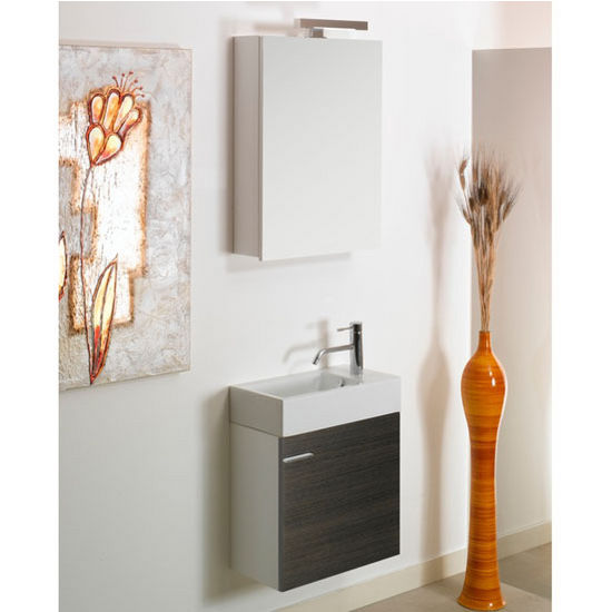 "Iotti by Nameeks Lola LA4 Wall Mounted Single Sink Bathroom Vanity Set in Grey Oak, 20-45/64"" Wide (Includes: Main Cabinet, Sink Top, Mirror and Vanity Light)"