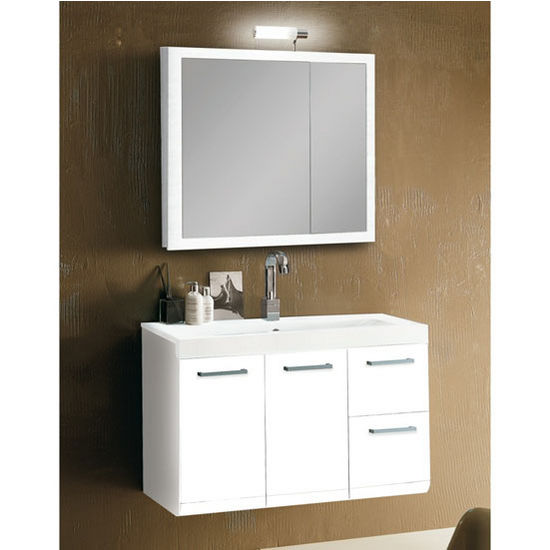 "Iotti by Nameeks Linear LE1 Wall Mounted Single Sink Bathroom Vanity Set in Glossy White, 38-5/16"" Wide (Includes: Main Cabinet, Sink Top, Medicine Cabinet and Vanity Light)"
