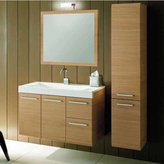 Linear Le2 Wall Mounted Single Sink Bathroom Vanity Set Includes Main Cabinet Sink Top