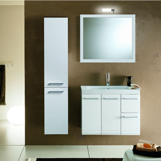 "Iotti by Nameeks Linear LE3 Wall Mounted Single Sink Bathroom Vanity Set in Glossy White, 30-2/5"" Wide (Includes: Main Cabinet, Sink Top, Mirror and Vanity Light)"