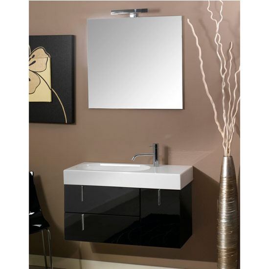 "Iotti by Nameeks Enjoy NE1 Wall Mounted Single Sink Bathroom Vanity Set in Glossy Black, 34-29/32"" Wide (Includes: Main Cabinet, Sink Top, Mirror and Vanity Light)"