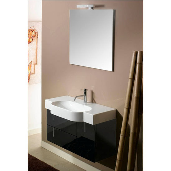 "Iotti by Nameeks Enjoy NE4 Wall Mounted Single Sink Bathroom Vanity Set in Glossy Black, 34-29/32"" Wide (Includes: Main Cabinet, Sink Top, Mirror and Vanity Light)"