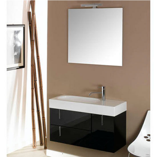 "Iotti by Nameeks Enjoy NE5 Wall Mounted Single Sink Bathroom Vanity Set in Glossy Black, 34-29/32"" Wide (Includes: Main Cabinet, Sink Top, Mirror and Vanity Light)"