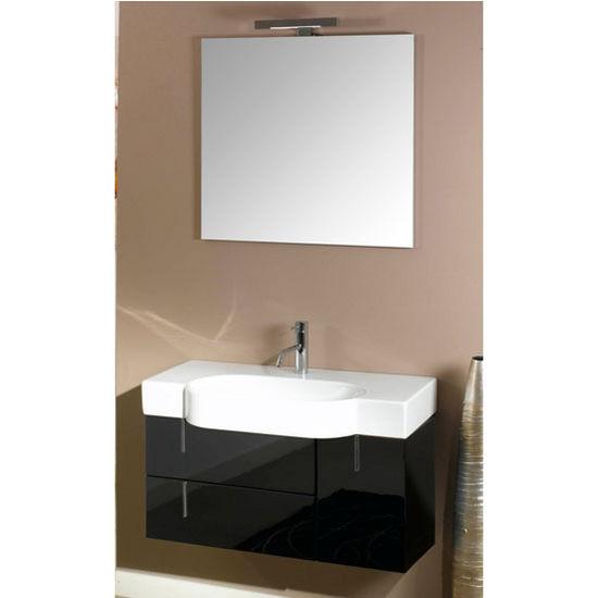 """Iotti by Nameeks Enjoy NE6 Wall Mounted Single Sink Bathroom Vanity Set in Glossy Black, 34-29/32"""" Wide (Includes: Main Cabinet, Sink Top, Mirror and Vanity Light)"""