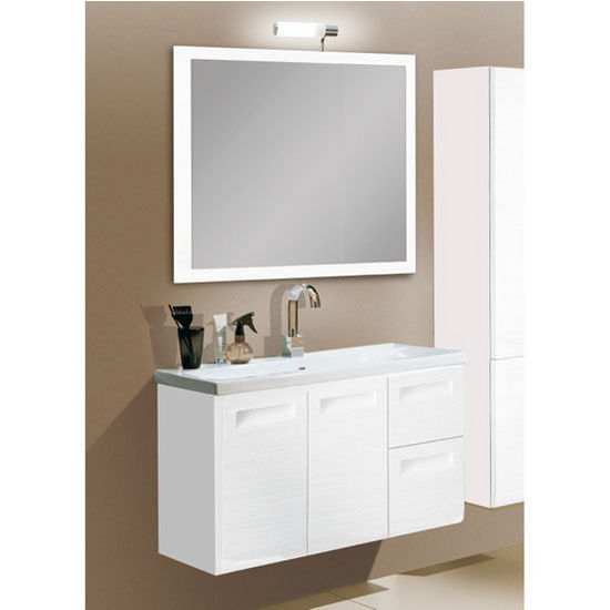 "Iotti by Nameeks Integral NG1 Wall Mounted Single Sink Bathroom Vanity Set in Glossy White, 38-5/16"" Wide (Includes: Main Cabinet, Sink Top, Mirror and Vanity Light)"
