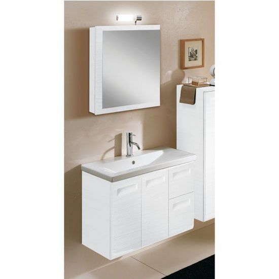 "Iotti by Nameeks Integral NG2 Wall Mounted Single Sink Bathroom Vanity Set in Glossy White, 30-2/5"" Wide (Includes: Main Cabinet, Sink Top, Medicine Cabinet and Vanity Light)"