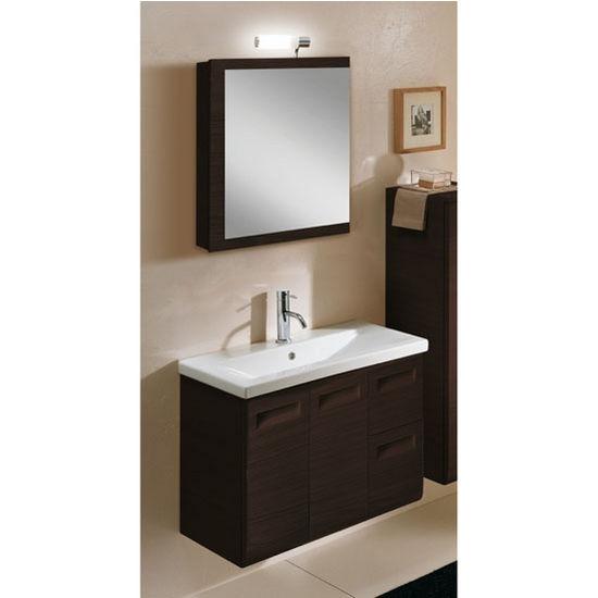 "Iotti by Nameeks Integral NG2 Wall Mounted Single Sink Bathroom Vanity Set in Wenge, 30-2/5"" Wide (Includes: Main Cabinet, Sink Top, Medicine Cabinet and Vanity Light)"
