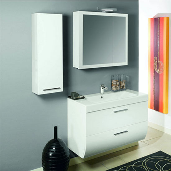 "Iotti by Nameeks New Day NN1 Wall Mounted Single Sink Bathroom Vanity Set 30-2/5"" Wide (Includes: Main Cabinet, Sink Top, Medicine Cabinet and Vanity Light)"