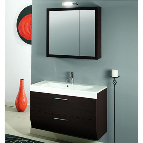 "Iotti by Nameeks New Day NN4 Wall Mounted Single Sink Bathroom Vanity Set, 38-4/5"" Wide (Includes: Main Cabinet, Sink Top, Medicine Cabinet and Vanity Light)"