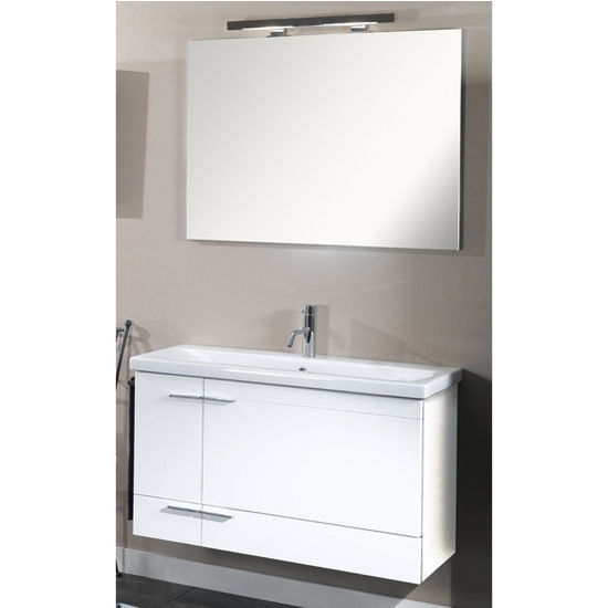 "Iotti by Nameeks Simple NS1 Wall Mounted Single Sink Bathroom Vanity Set in Glossy White, 38-5/16"" Wide (Includes: Main Cabinet, Sink Top, Mirror and Vanity Light)"