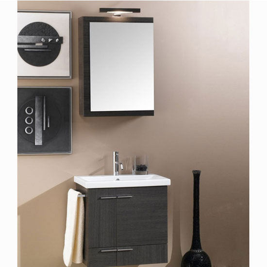"Iotti by Nameeks Simple NS3 Floor Standing Single Sink Bathroom Vanity Set in Grey Oak, 22-1/2"" Wide (Includes: Main Cabinet, Sink Top, Medicine Cabinet and Vanity Light)"