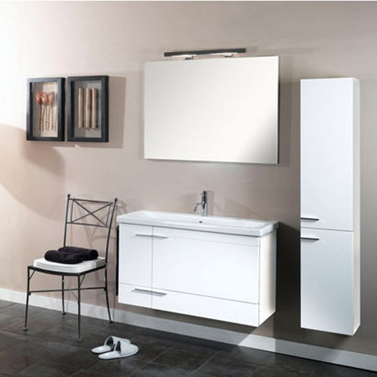 "Iotti by Nameeks Simple NS7 Wall Mounted Single Sink Bathroom Vanity Set, 38-5/16"" Wide (Includes: Main Cabinet, Sink Top, Mirror and Vanity Light)"