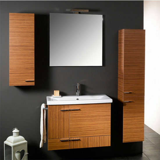"Iotti by Nameeks Simple NS8 Wall Mounted Single Sink Bathroom Vanity Set, 30-2/5"" Wide (Includes: Main Cabinet, Sink Top, Mirror and Vanity Light)"