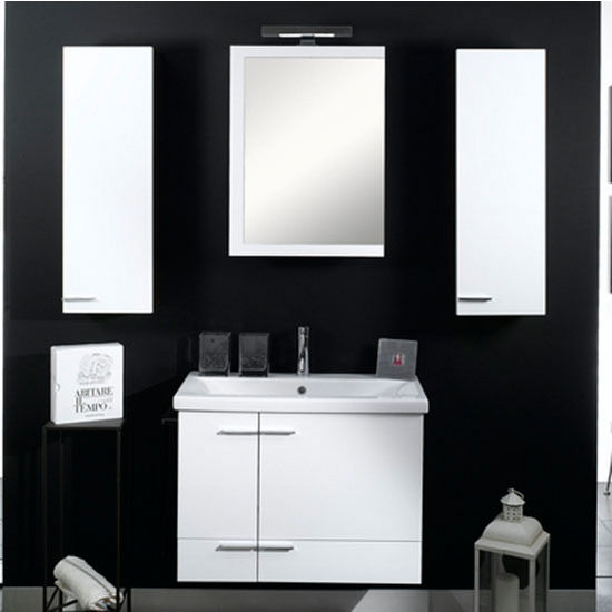 "Iotti by Nameeks Simple NS9 Wall Mounted Single Sink Bathroom Vanity Set, 30-2/5"" Wide (Includes: Main Cabinet, Sink Top, Medicine Cabinet and Vanity Light)"