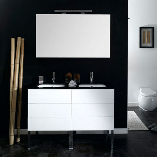 "Iotti by Nameeks Time NT1 Floor Standing Double Sink Bathroom Vanity Set, 47-1/5"" Wide (Includes: (2) Main Cabinets, Glass Top, (2) Sinks, Mirror and Vanity Light)"