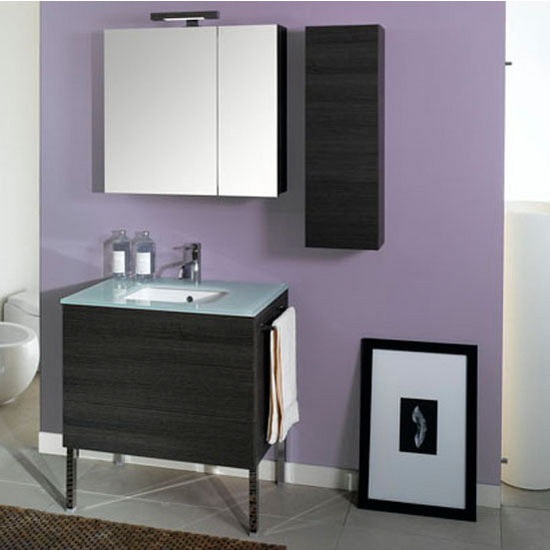 "Iotti by Nameeks Time NT2 Floor Standing Single Sink Bathroom Vanity Set, 31-1/2"" Wide (Includes: Main Cabinet, Glass Top, Sink, Medicine Cabinet and Vanity Light)"