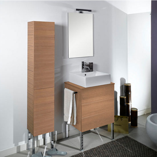 "Iotti by Nameeks Time NT8 Floor Standing Single Sink Bathroom Vanity Set, 23-3/5"" Wide (Includes: Main Cabinet, Wooden Top, Sink, Mirror and Vanity Light)"