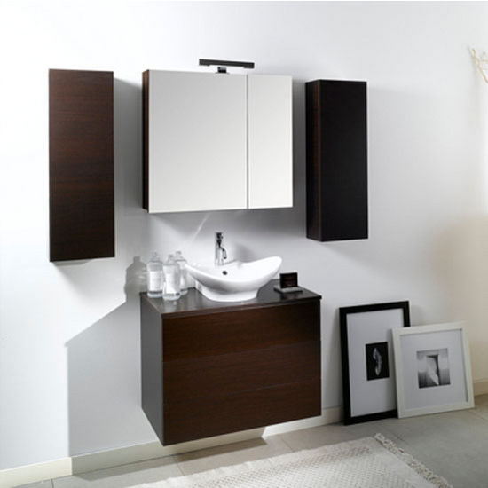 "Iotti by Nameeks Time NT9 Wall Mounted Single Sink Bathroom Vanity Set, 31-1/2"" Wide (Includes: Main Cabinet, Wooden Top, Sink, Medicine Cabinet and Vanity Light)"