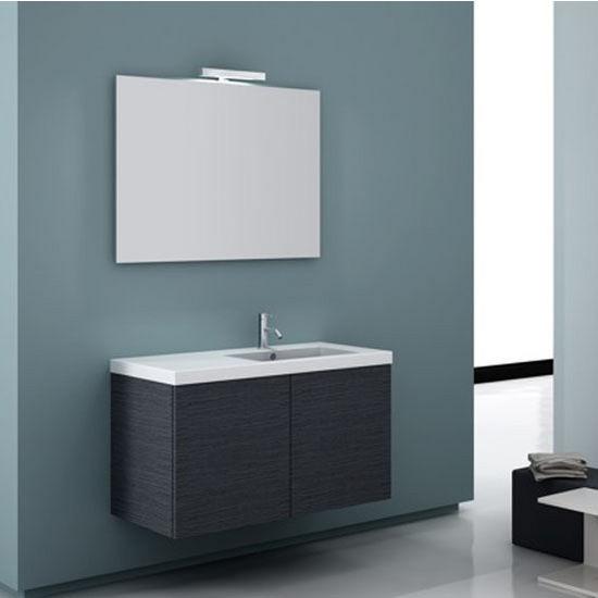 """Iotti by Nameeks Space SE03 Wall Mounted Single Sink Bathroom Vanity in Grey Oak, 39"""" Wide (Includes: Main Cabinet, Sink Top, Mirror and Vanity Light)"""