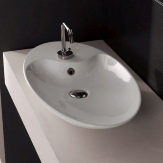 Nameeks Shape 70 Above Counter Bathroom Sink in White, Single Hole
