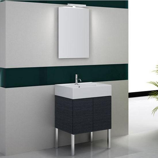 """Iotti by Nameeks Smile SM05 Floor Standing Single Sink Bathroom Vanity in Grey Oak, 23-1/5"""" Wide (Includes: Main Cabinet, Sink Top, Mirror and Vanity Light)"""