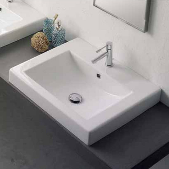 Nameeks Square 8025 A Built In Bathroom Sink In White | KitchenSource.com